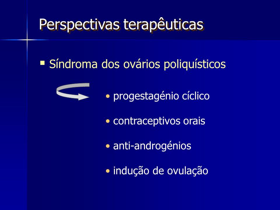 Perspectivas terapêuticas  Síndroma dos ovários poliquísticos progestagénio cíclico contraceptivos orais indução de ovulação anti-androgénios