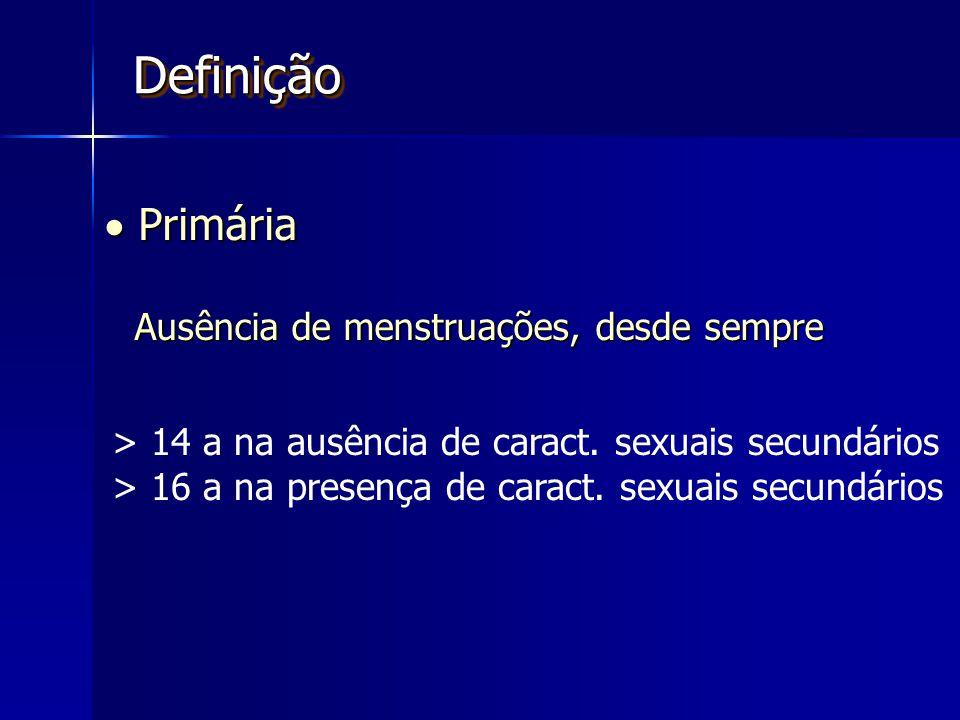 DefiniçãoDefinição  Primária Ausência de menstruações, desde sempre > 14 a na ausência de caract.