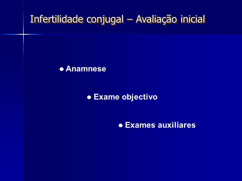 Anamnese Exame objectivo Exames auxiliares Infertilidade conjugal – Avaliação inicial