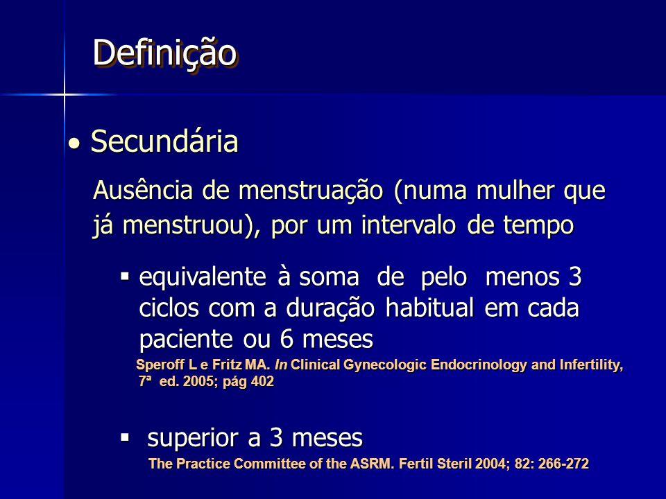DefiniçãoDefinição  Secundária Ausência de menstruação (numa mulher que já menstruou), por um intervalo de tempo  superior a 3 meses The Practice Committee of the ASRM.