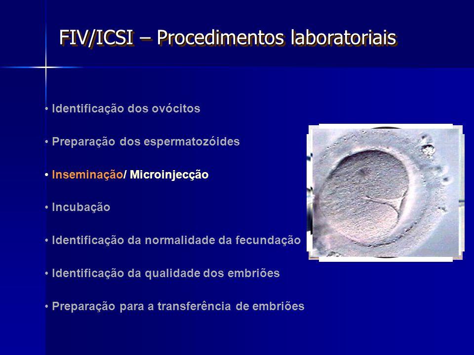 Identificação dos ovócitos Preparação dos espermatozóides Inseminação/ Microinjecção Incubação Identificação da normalidade da fecundação Identificação da qualidade dos embriões Preparação para a transferência de embriões FIV/ICSI – Procedimentos laboratoriais