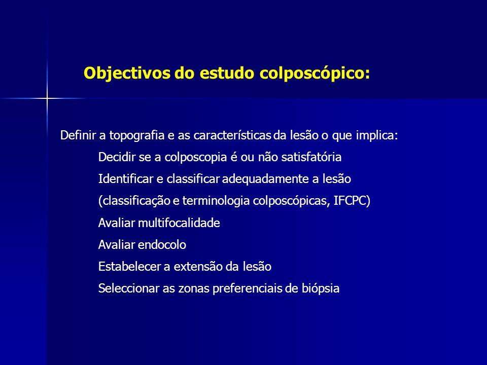 Objectivos do estudo colposcópico: Definir a topografia e as características da lesão o que implica: Decidir se a colposcopia é ou não satisfatória Id