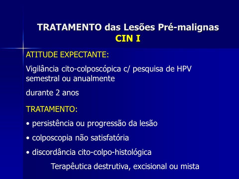 TRATAMENTO das Lesões Pré-malignas CIN I ATITUDE EXPECTANTE: Vigilância cito-colposcópica c/ pesquisa de HPV semestral ou anualmente durante 2 anos TR
