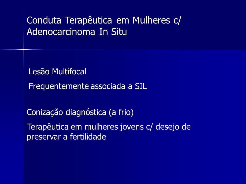Conduta Terapêutica em Mulheres c/ Adenocarcinoma In Situ Lesão Multifocal Frequentemente associada a SIL Conização diagnóstica (a frio) Terapêutica e