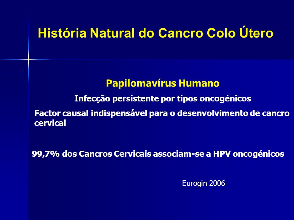 História Natural do Cancro Colo Útero Num ano10 ou + anosAté 5 anos Infecção a HPV inicial Infecção persistente CIN 1 LSIL CIN 2/3 HSIL Cancro do colo do útero Where HPV = human PapillomaVirus.