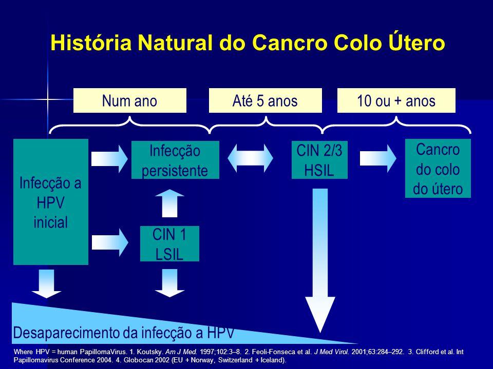 História Natural do Cancro Colo Útero Num ano10 ou + anosAté 5 anos Infecção a HPV inicial Infecção persistente CIN 1 LSIL CIN 2/3 HSIL Cancro do colo