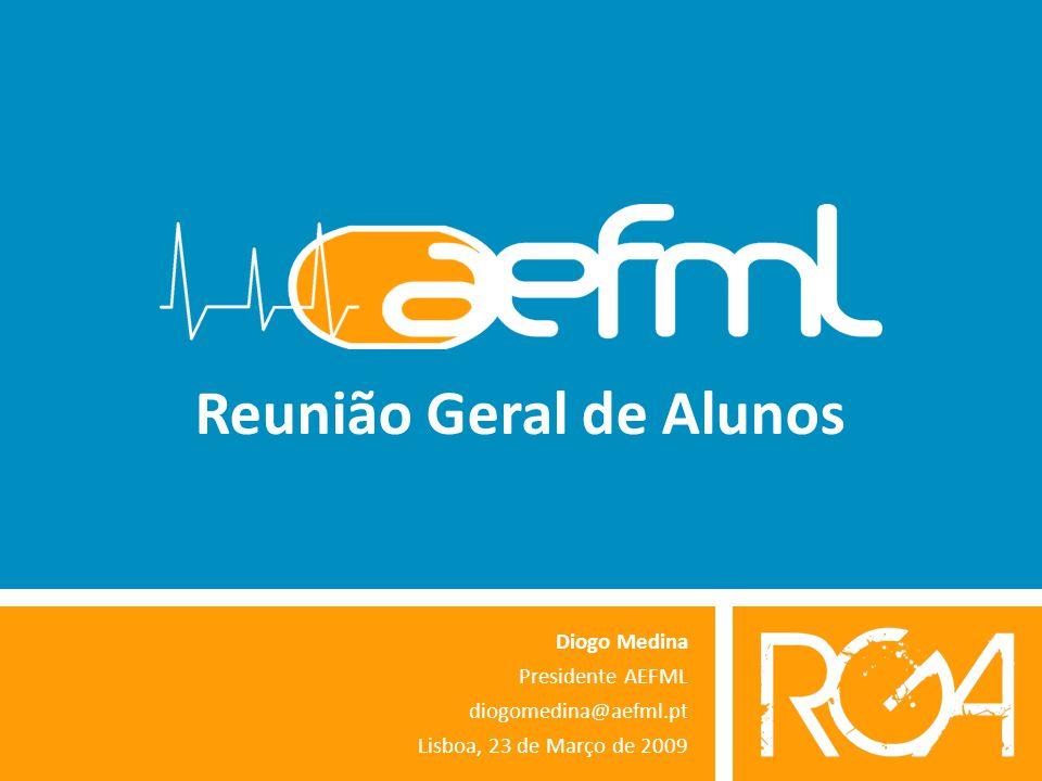 Reunião Geral de Alunos Diogo Medina Presidente AEFML diogomedina@aefml.pt Lisboa, 23 de Março de 2009
