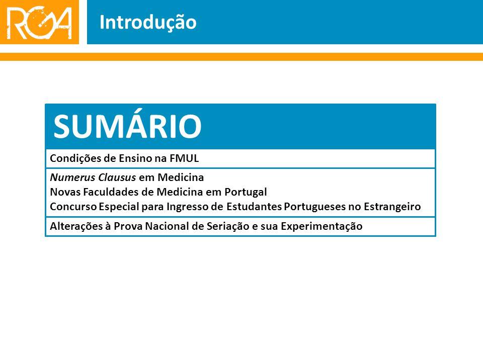 Introdução SUMÁRIO Numerus Clausus em Medicina Novas Faculdades de Medicina em Portugal Concurso Especial para Ingresso de Estudantes Portugueses no Estrangeiro Alterações à Prova Nacional de Seriação e sua Experimentação Condições de Ensino na FMUL