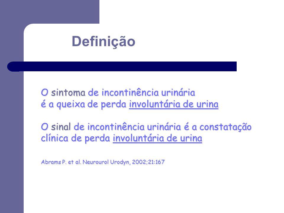 Definição O sintoma de incontinência urinária é a queixa de perda involuntária de urina O sinal de incontinência urinária é a constatação clínica de p