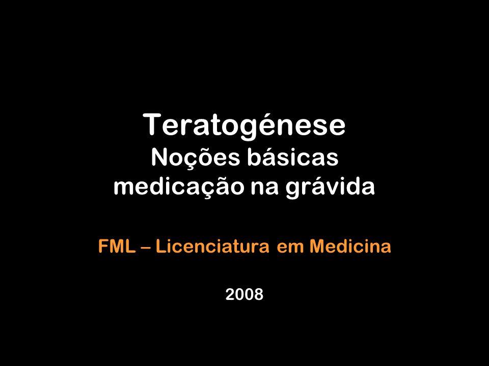 Teratogénese Noções básicas medicação na grávida FML – Licenciatura em Medicina 2008