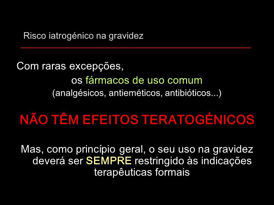 Risco iatrogénico na gravidez Com raras excepções, os fármacos de uso comum (analgésicos, antieméticos, antibióticos...) NÃO TÊM EFEITOS TERATOGÉNICOS