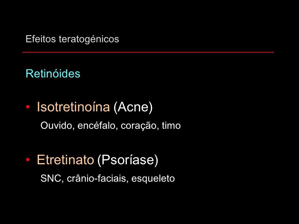 Efeitos teratogénicos Retinóides Isotretinoína (Acne) Ouvido, encéfalo, coração, timo Etretinato (Psoríase) SNC, crânio-faciais, esqueleto