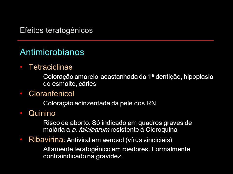 Efeitos teratogénicos Antimicrobianos Tetraciclinas Coloração amarelo-acastanhada da 1ª dentição, hipoplasia do esmalte, cáries Cloranfenicol Coloraçã
