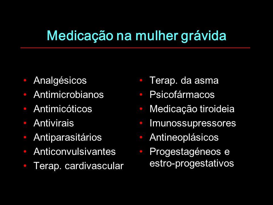 Medicação na mulher grávida Analgésicos Antimicrobianos Antimicóticos Antivirais Antiparasitários Anticonvulsivantes Terap. cardivascular Terap. da as
