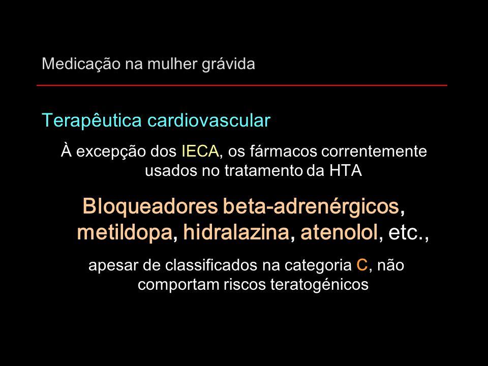 Medicação na mulher grávida Terapêutica cardiovascular À excepção dos IECA, os fármacos correntemente usados no tratamento da HTA Bloqueadores beta-ad