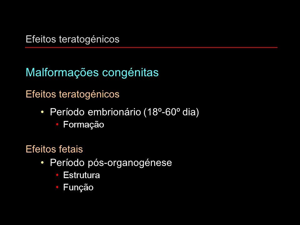 Efeitos teratogénicos Malformações congénitas Efeitos teratogénicos Período embrionário (18º-60º dia) Formação Efeitos fetais Período pós-organogénese