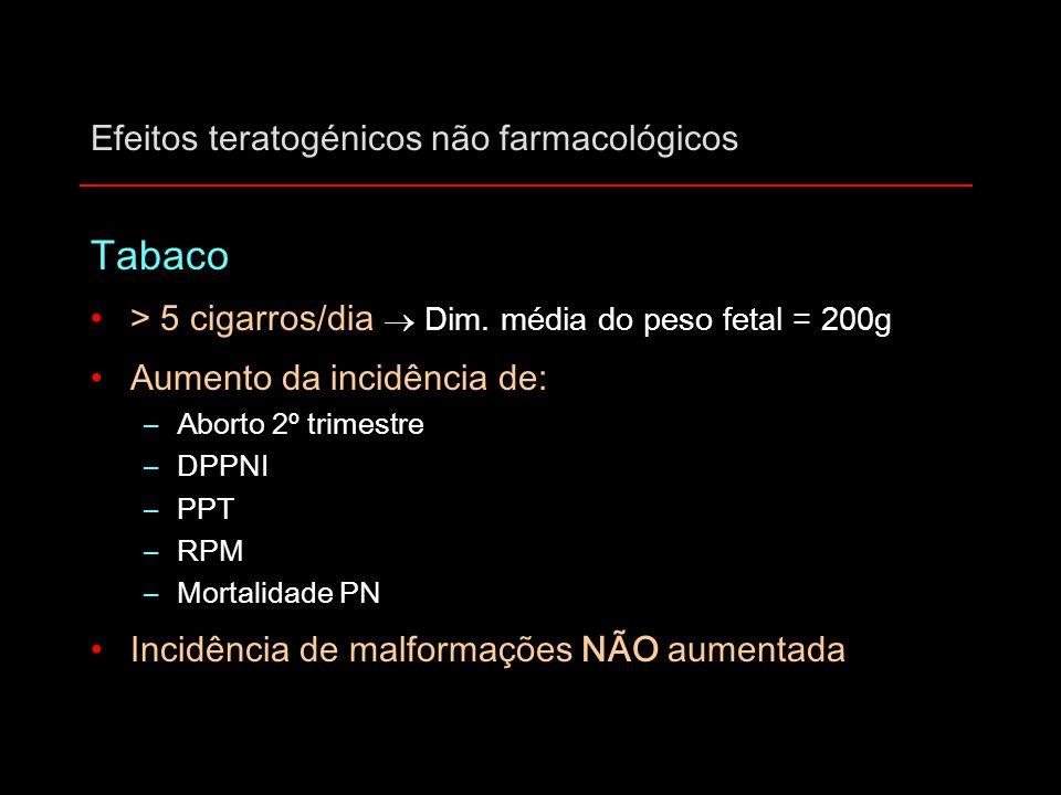 Efeitos teratogénicos não farmacológicos Tabaco > 5 cigarros/dia  Dim. média do peso fetal = 200g Aumento da incidência de: –Aborto 2º trimestre –DPP
