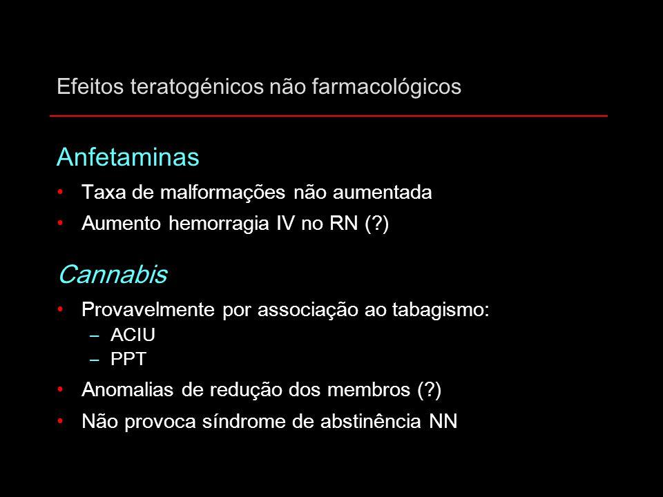 Efeitos teratogénicos não farmacológicos Anfetaminas Taxa de malformações não aumentada Aumento hemorragia IV no RN (?) Cannabis Provavelmente por ass