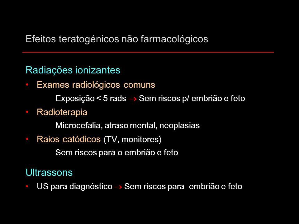 Efeitos teratogénicos não farmacológicos Radiações ionizantes Exames radiológicos comuns Exposição < 5 rads  Sem riscos p/ embrião e feto Radioterapi