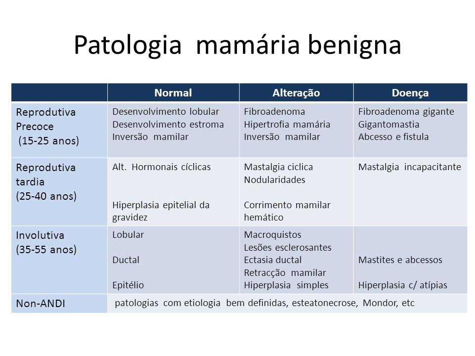 Patologia mamária benigna NormalAlteraçãoDoença Reprodutiva Precoce (15-25 anos) Desenvolvimento lobular Desenvolvimento estroma Inversão mamilar Fibr