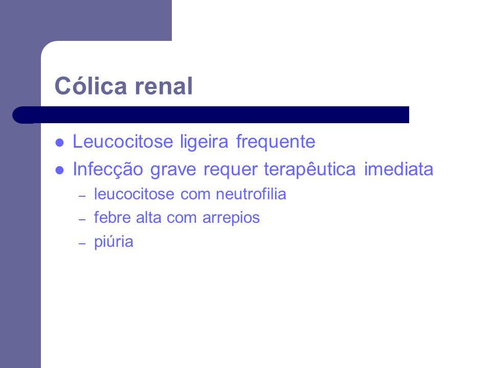 Leucocitose ligeira frequente Infecção grave requer terapêutica imediata – leucocitose com neutrofilia – febre alta com arrepios – piúria