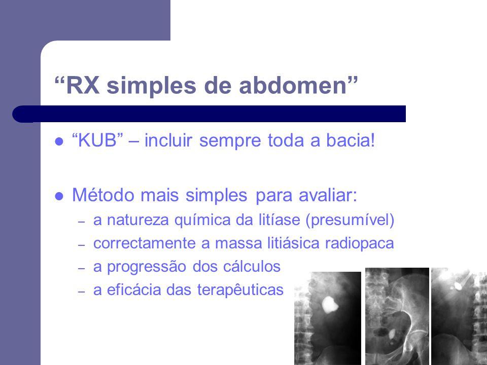 RX simples de abdomen KUB – incluir sempre toda a bacia.