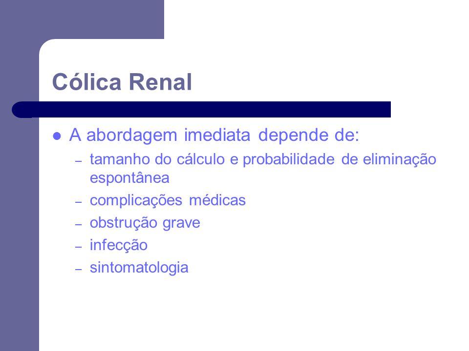 Cólica Renal A abordagem imediata depende de: – tamanho do cálculo e probabilidade de eliminação espontânea – complicações médicas – obstrução grave – infecção – sintomatologia