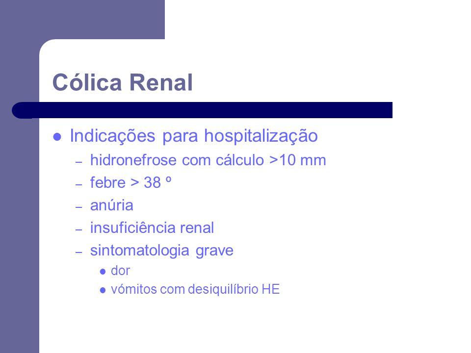 Indicações para hospitalização – hidronefrose com cálculo >10 mm – febre > 38 º – anúria – insuficiência renal – sintomatologia grave dor vómitos com desiquilíbrio HE Cólica Renal