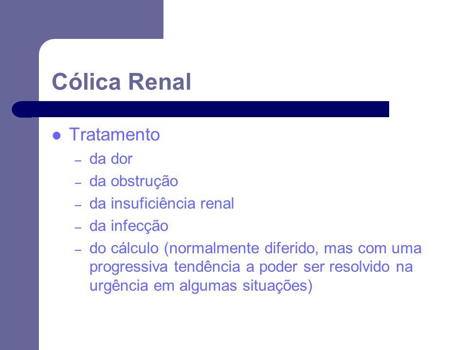 Tratamento – da dor – da obstrução – da insuficiência renal – da infecção – do cálculo (normalmente diferido, mas com uma progressiva tendência a poder ser resolvido na urgência em algumas situações) Cólica Renal
