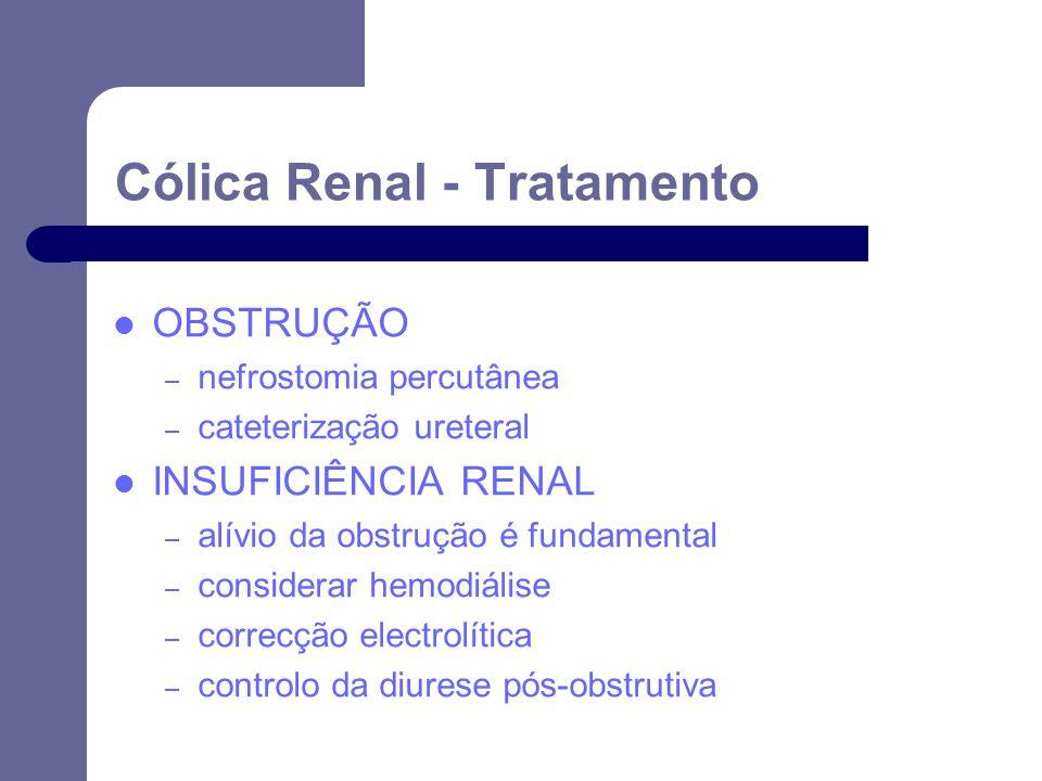 OBSTRUÇÃO – nefrostomia percutânea – cateterização ureteral INSUFICIÊNCIA RENAL – alívio da obstrução é fundamental – considerar hemodiálise – correcção electrolítica – controlo da diurese pós-obstrutiva Cólica Renal - Tratamento