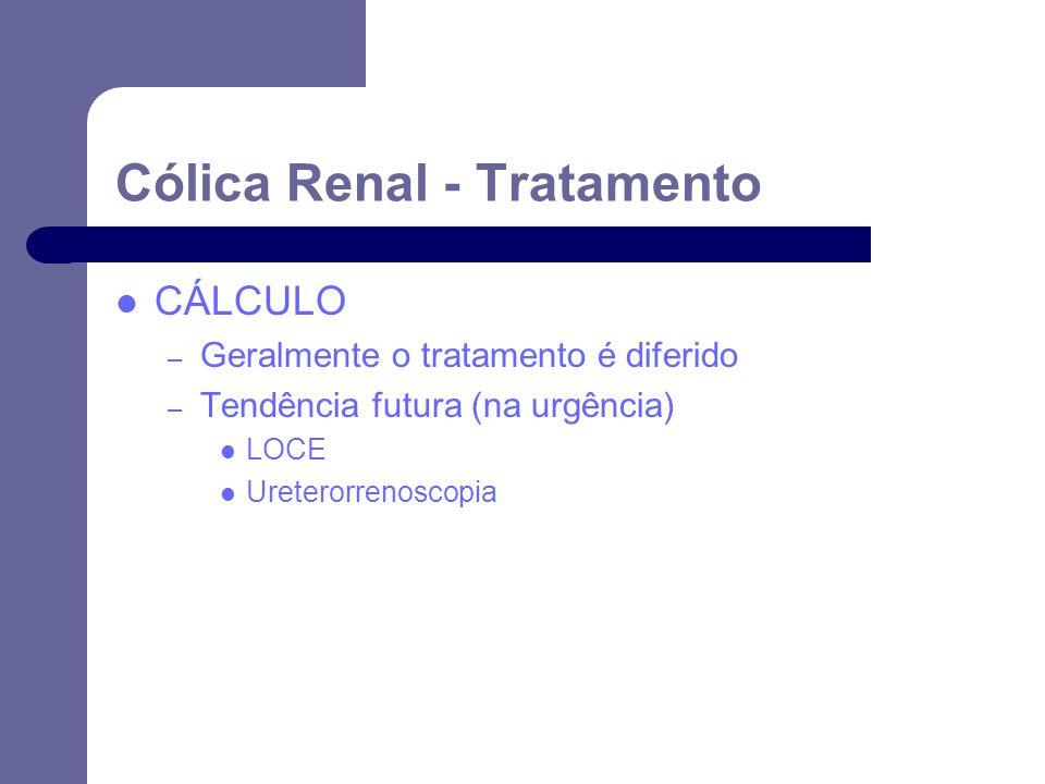 CÁLCULO – Geralmente o tratamento é diferido – Tendência futura (na urgência) LOCE Ureterorrenoscopia Cólica Renal - Tratamento