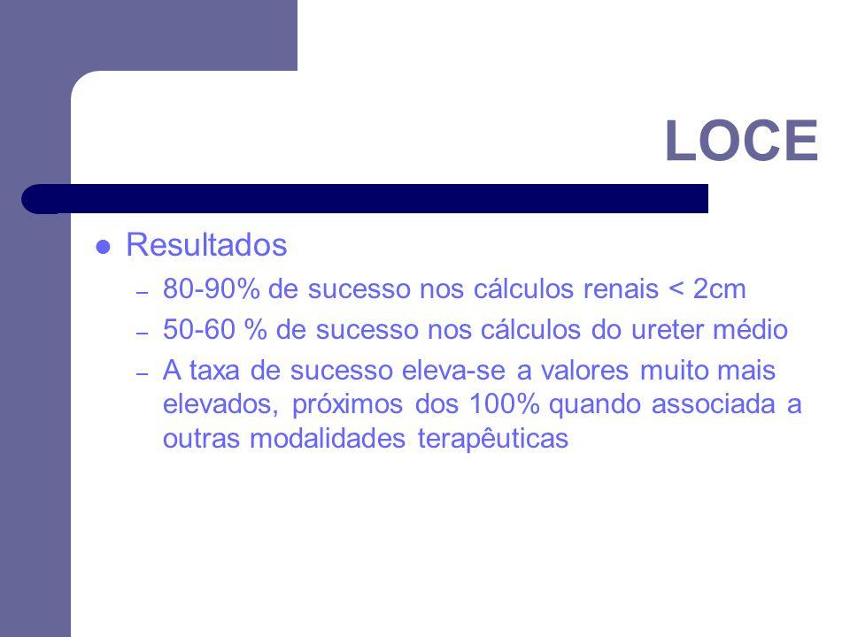 Resultados – 80-90% de sucesso nos cálculos renais < 2cm – 50-60 % de sucesso nos cálculos do ureter médio – A taxa de sucesso eleva-se a valores muito mais elevados, próximos dos 100% quando associada a outras modalidades terapêuticas LOCE