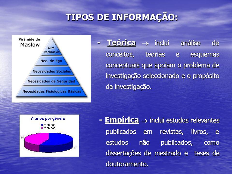 - Teórica  inclui análise de conceitos, teorias e esquemas conceptuais que apoiam o problema de investigação seleccionado e o propósito da investigaç