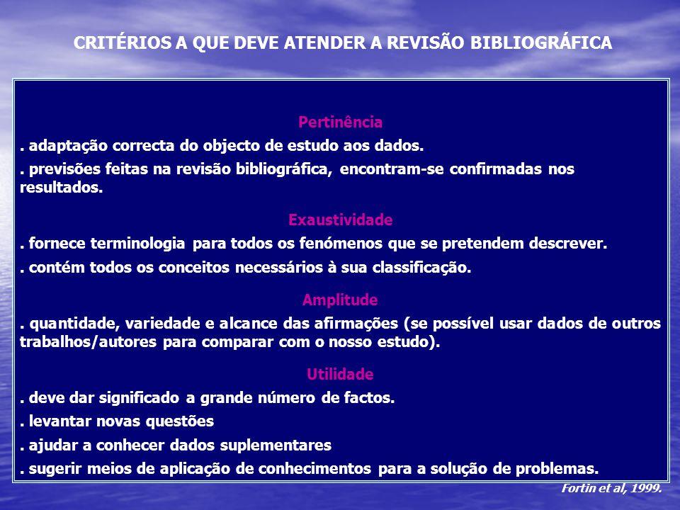 CRITÉRIOS A QUE DEVE ATENDER A REVISÃO BIBLIOGRÁFICA Pertinência. adaptação correcta do objecto de estudo aos dados.. previsões feitas na revisão bibl