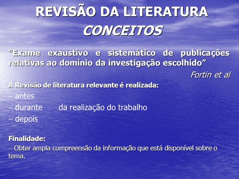 REVISÃO DA LITERATURA CONCEITOS