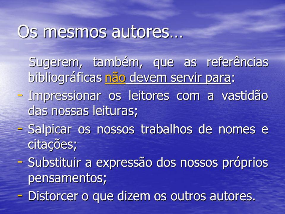 Os mesmos autores… Sugerem, também, que as referências bibliográficas não devem servir para: Sugerem, também, que as referências bibliográficas não de