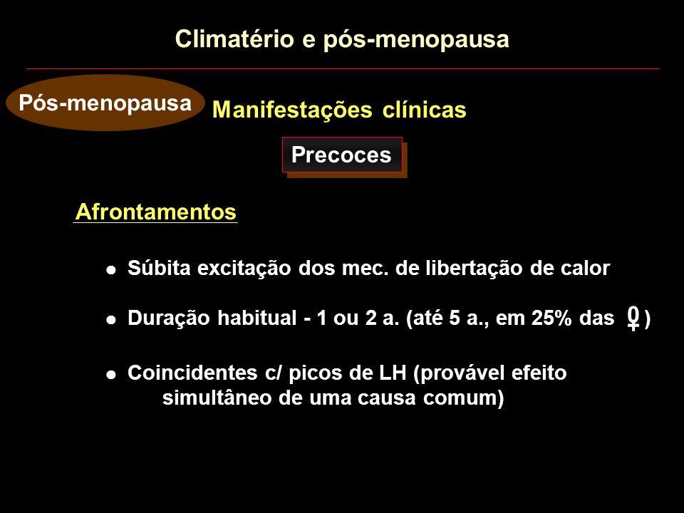 Manifestações clínicas Pós-menopausa Precoces Afrontamentos Duração habitual - 1 ou 2 a. (até 5 a., em 25% das ) + 0 Súbita excitação dos mec. de libe