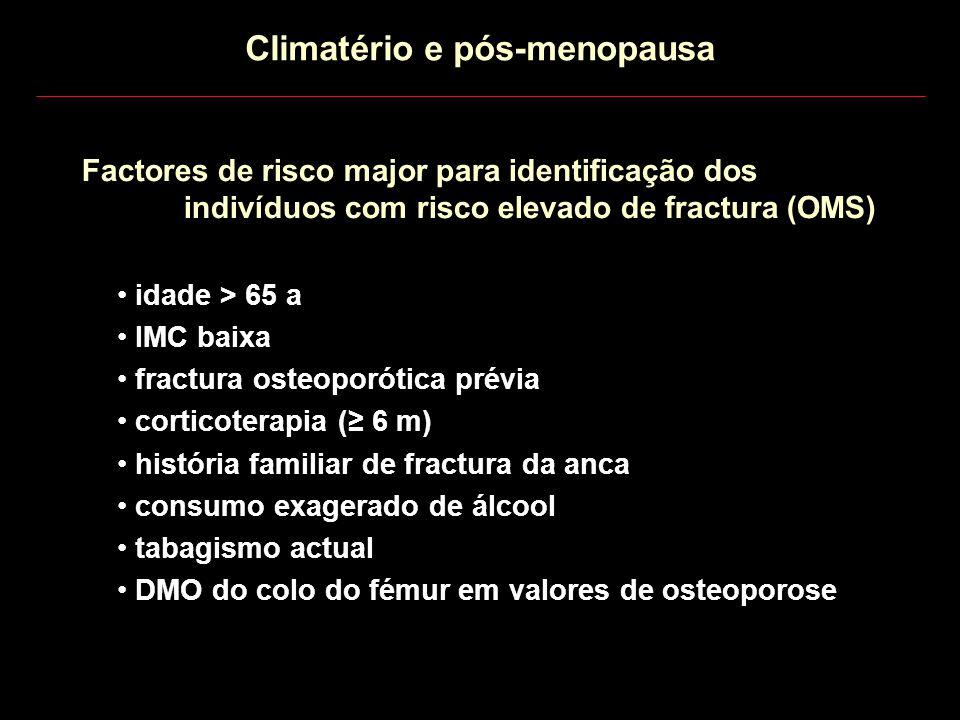 Factores de risco major para identificação dos indivíduos com risco elevado de fractura (OMS) Climatério e pós-menopausa idade > 65 a IMC baixa fractu