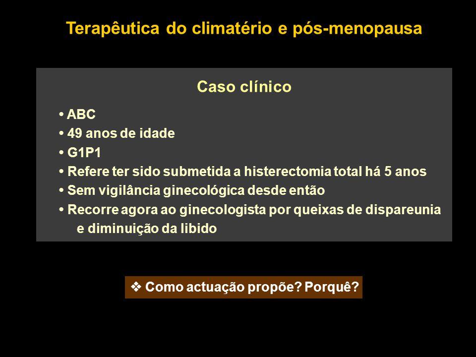 ABC 49 anos de idade G1P1 Refere ter sido submetida a histerectomia total há 5 anos Sem vigilância ginecológica desde então Recorre agora ao ginecolog