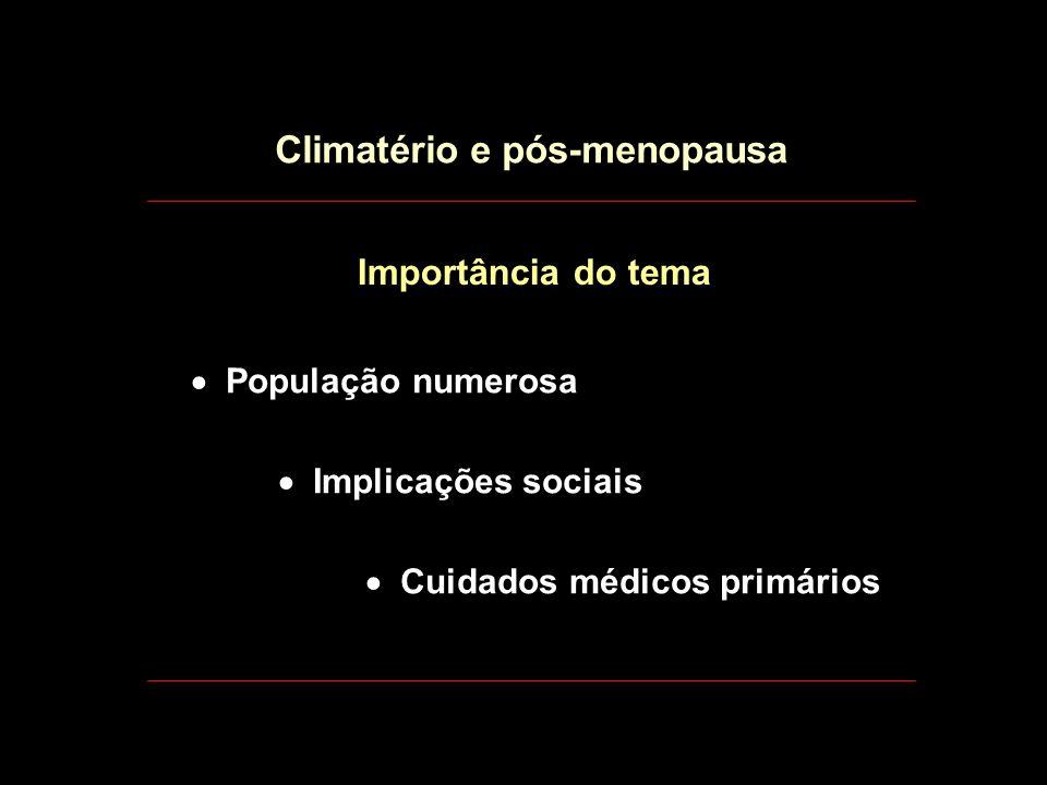 ..... Climatério Média: 50 - 51 a. (44-56 a. = 95%) Climatério e pós-menopausa Definições