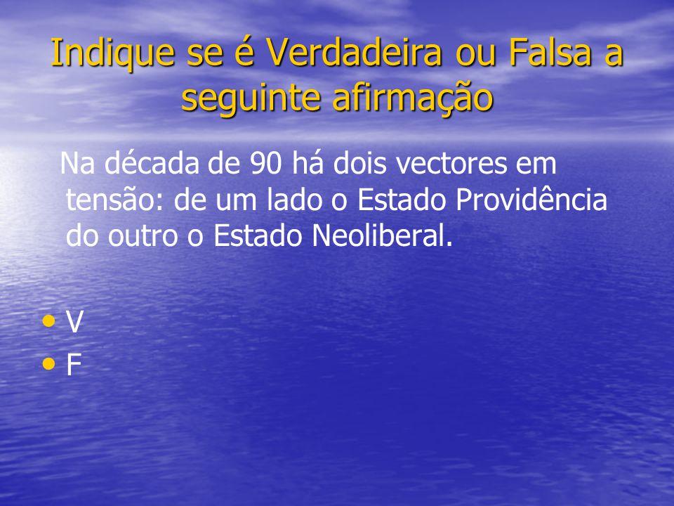 Na década de 90 há dois vectores em tensão: de um lado o Estado Providência do outro o Estado Neoliberal.