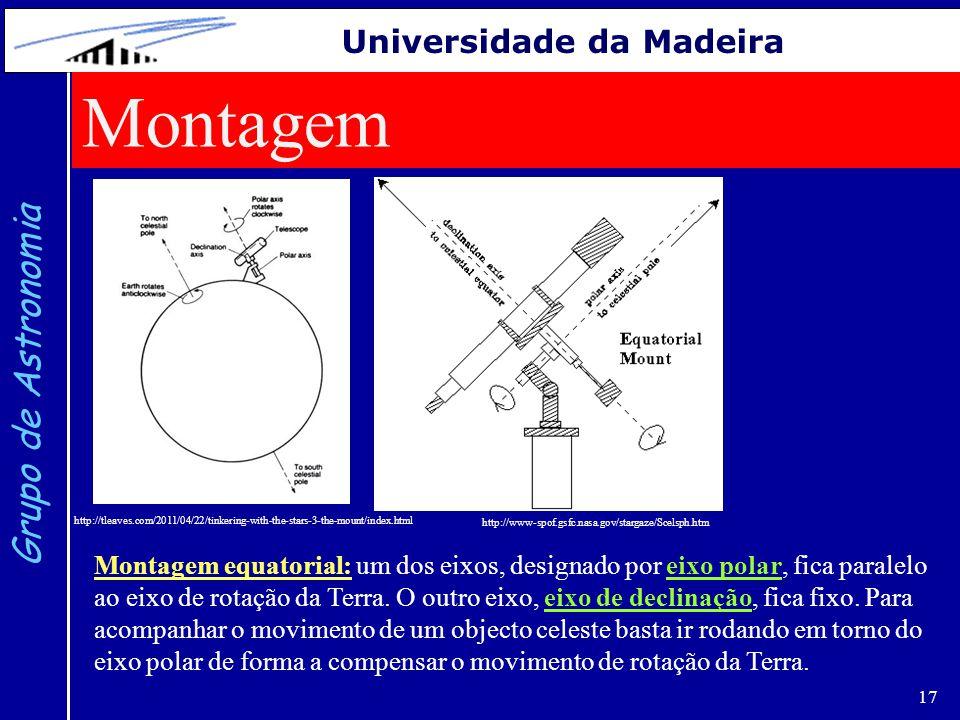 17 Grupo de Astronomia Universidade da Madeira http://tleaves.com/2011/04/22/tinkering-with-the-stars-3-the-mount/index.html Montagem http://www-spof.