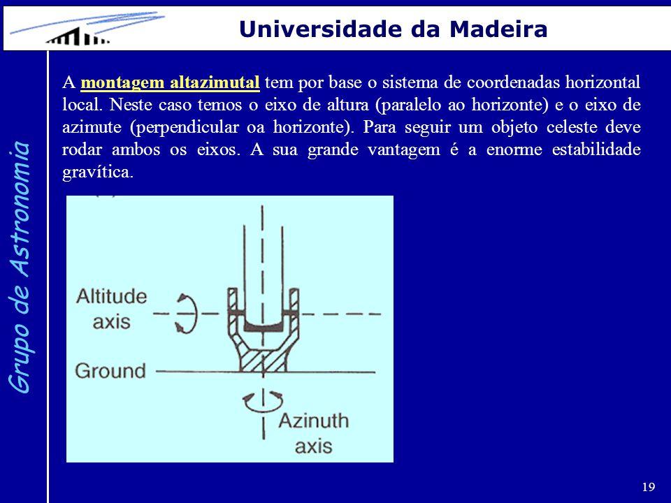 19 Grupo de Astronomia Universidade da Madeira A montagem altazimutal tem por base o sistema de coordenadas horizontal local. Neste caso temos o eixo
