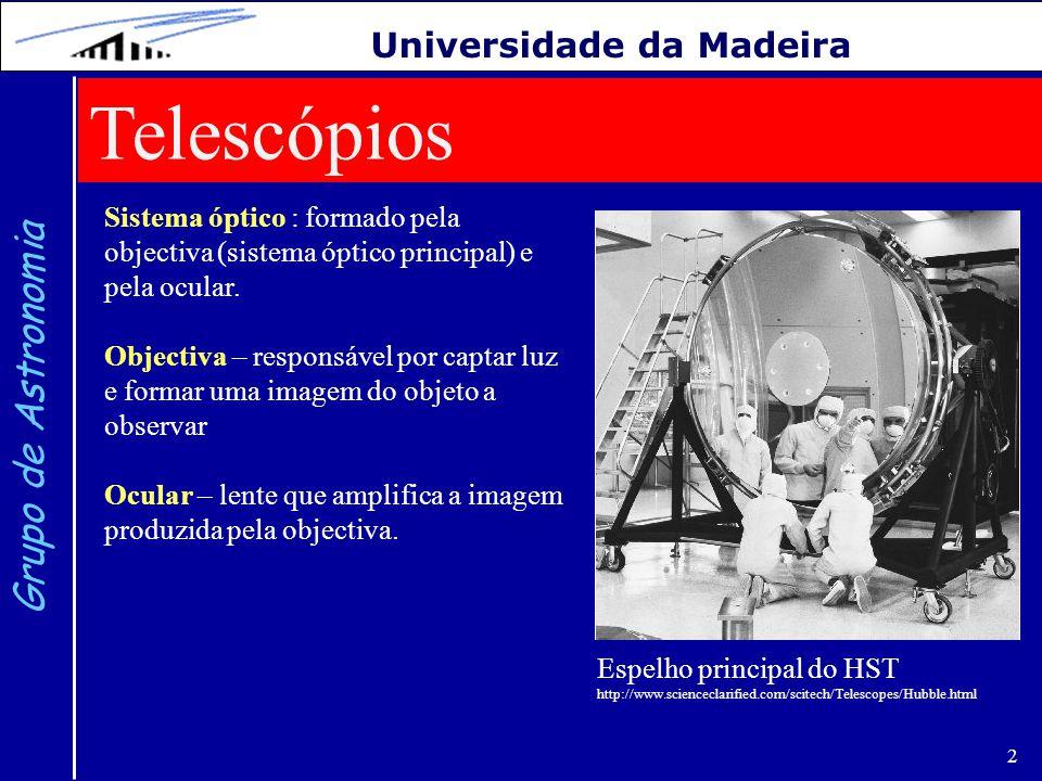 3 Grupo de Astronomia Universidade da Madeira Diferentes classes de telescópios: a) Refrator: objectiva formada por uma lente b) Refletor: objectiva formada por um espelho c) Catadióptrico: objectiva formada por lentes e espelhos http://www.meade.com/support/telewrk.html (tipo Newtoniano) (tipo Cassegrain)