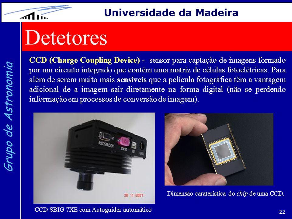 22 Grupo de Astronomia Universidade da Madeira CCD (Charge Coupling Device) - sensor para captação de imagens formado por um circuito integrado que co