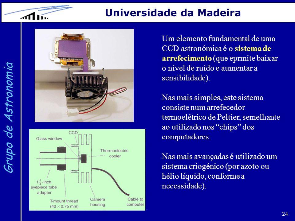 24 Grupo de Astronomia Universidade da Madeira Um elemento fundamental de uma CCD astronómica é o sistema de arrefecimento (que eprmite baixar o nível