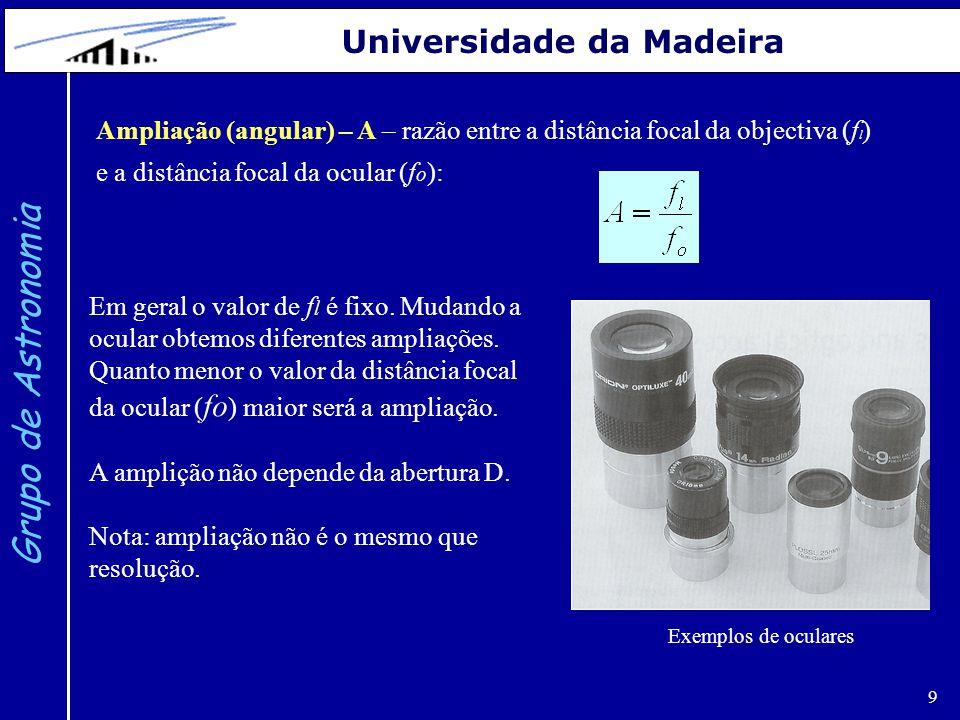 10 Grupo de Astronomia Universidade da Madeira Campo de visão (angular): Se estivermos a utilizar uma ocular de diâmetro d 0 o campo de visão será: Se estivermos a utilizar uma CCD de dimensão a  b o campo de visão será: ou onde A é a ampliação e θ' é o campo de visão da ocular (dado pelo fabricante).