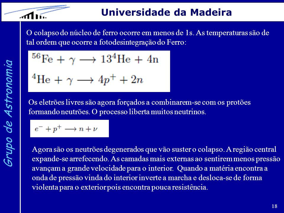 18 Grupo de Astronomia Universidade da Madeira O colapso do núcleo de ferro ocorre em menos de 1s. As temperaturas são de tal ordem que ocorre a fotod