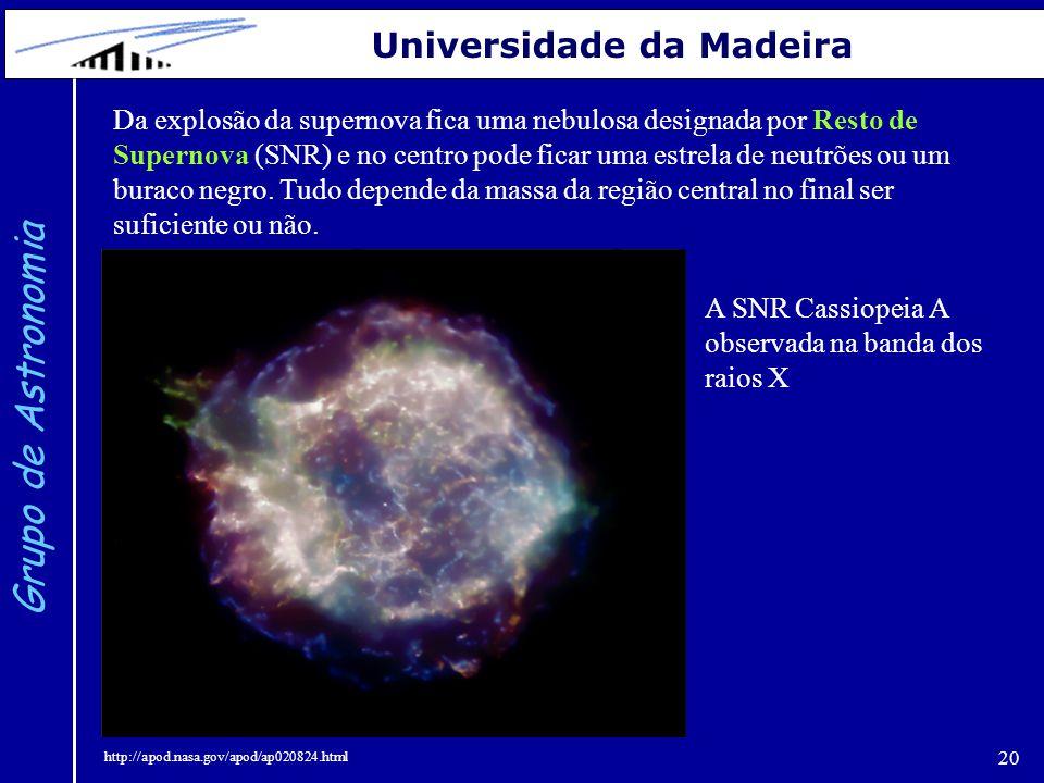 20 Grupo de Astronomia Universidade da Madeira Da explosão da supernova fica uma nebulosa designada por Resto de Supernova (SNR) e no centro pode fica