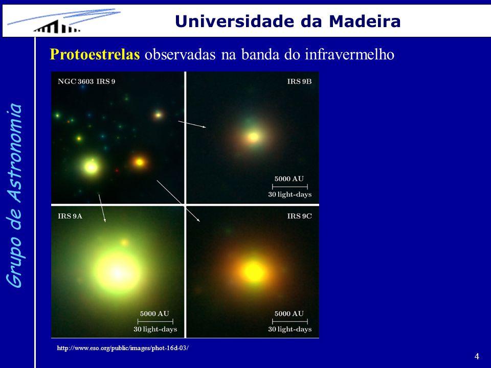 5 Grupo de Astronomia Universidade da Madeira Quando a temperatura no centro atinge cerca de 10 milhões de graus iniciam-se as reações de fusão nuclear do hidrogénio em hélio.
